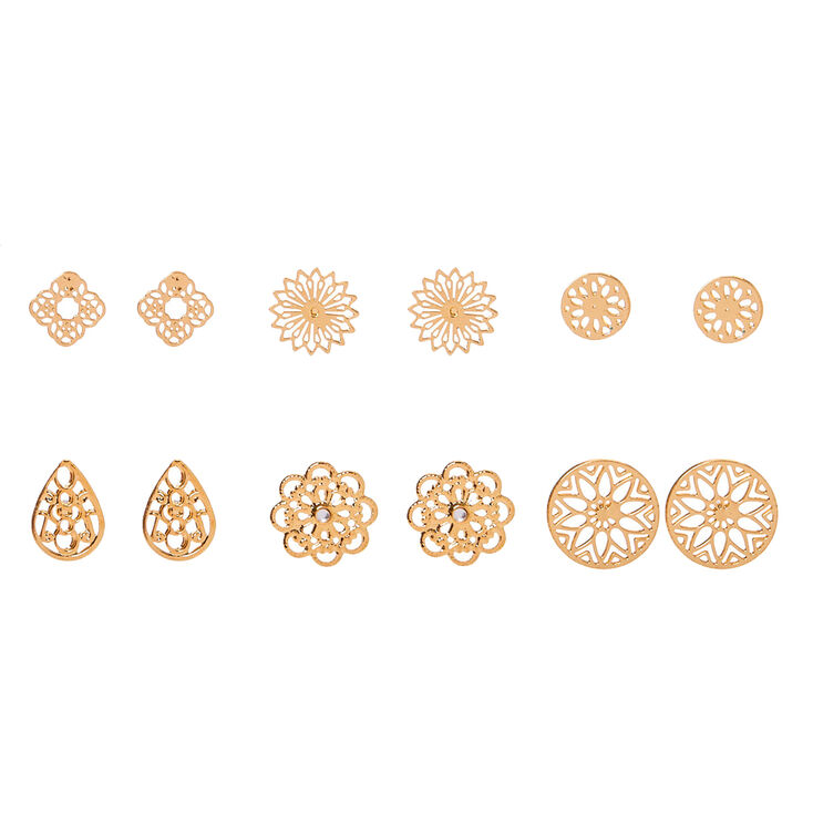 Gold Filigree Stud Earrings - 6 Pack,