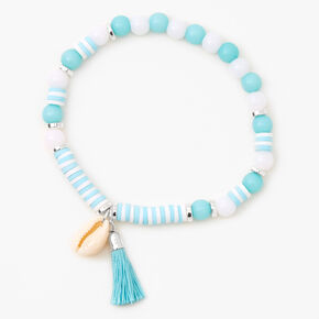 Blue Beaded Cowrie Shell Stretch Bracelet,