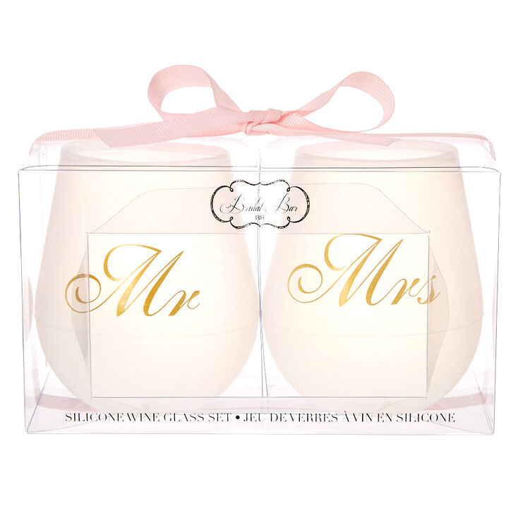 Mr. + Mrs. Silicone Wine Glass Set,