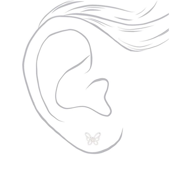 Sterling Silver Butterfly Stud Earrings,