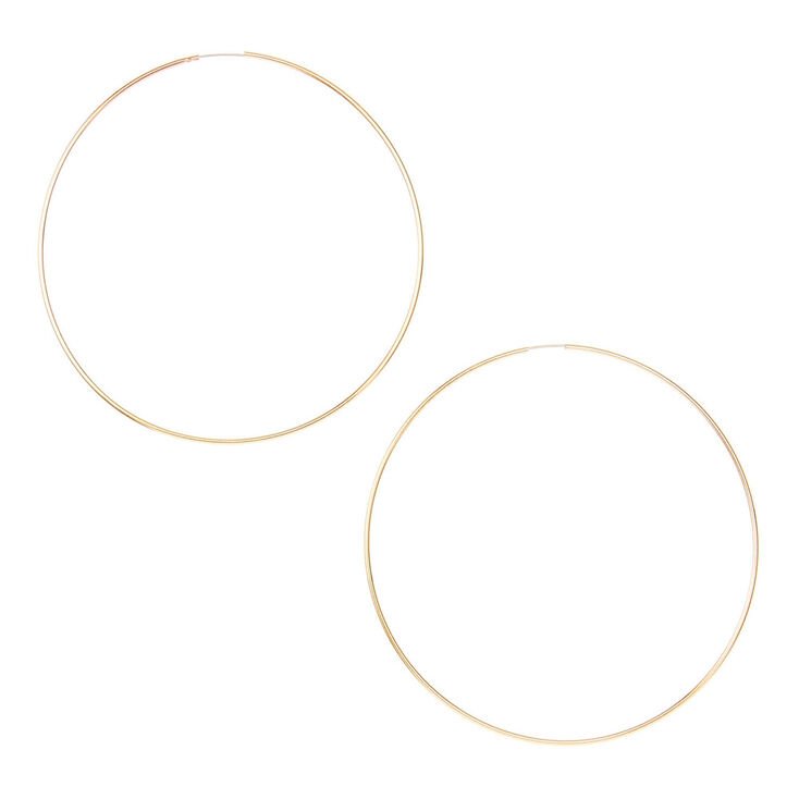Gold Wire 60mm Hoop Earrings,