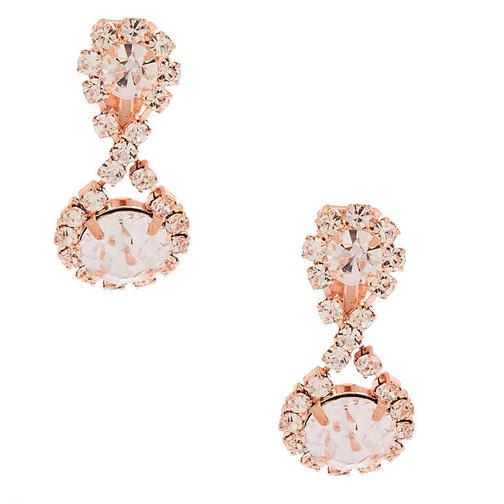 "Rose Gold 1"" Infinity Crystal Clip On Drop Earrings,"