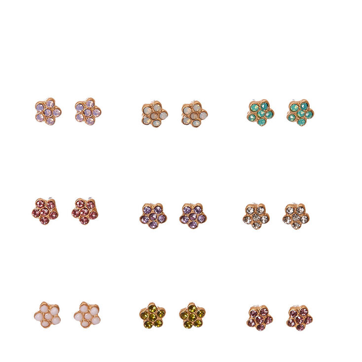 Gold Tone Frame Pastel Gem Daisy Stud Earrings,