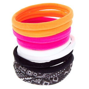 Neon Aztec Hair Ties - 10 Pack,