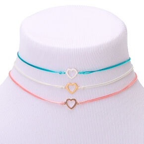 Mixed Metal Pastel Heart Choker Necklaces - 3 Pack,