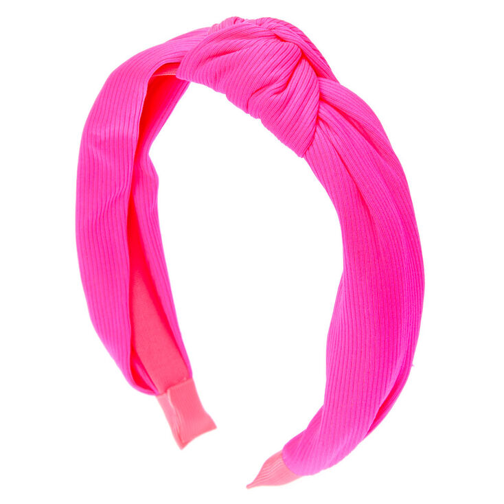 Ribbed Knotted Headband - Neon Pink,