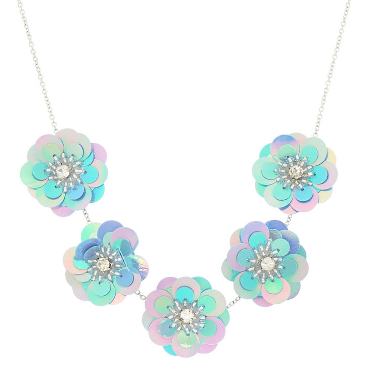 Holographic Flower Statement Necklace - Blue,