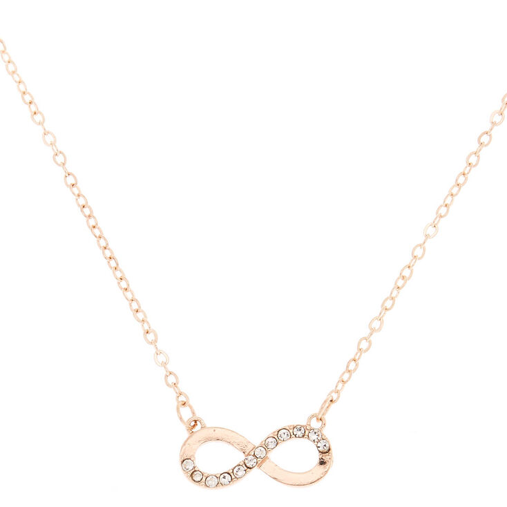 Rose Gold Embellished Infinity Pendant Necklace,