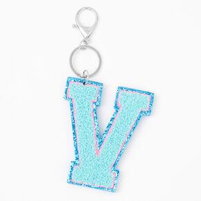 Blue Varsity Initial Keychain - V,