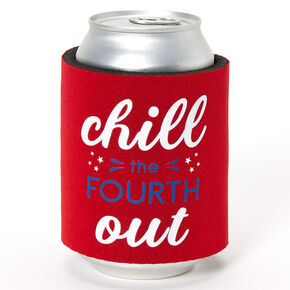 Chill The Fouth Out Slap Koozie - Red,