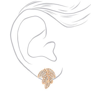 Rose Gold Crystal Leaf Stud Earrings,