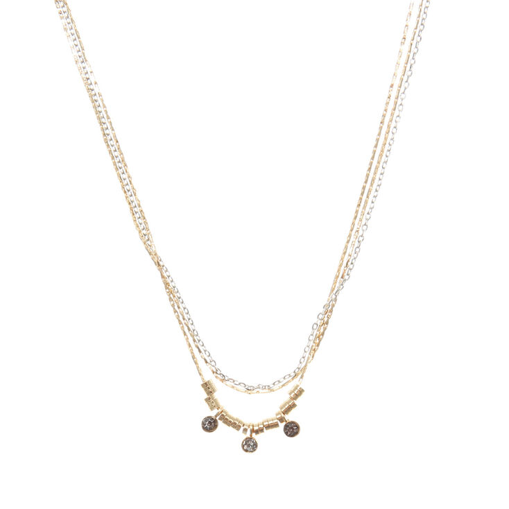 Mixed Metal & Crystal Multi Strand Necklace,
