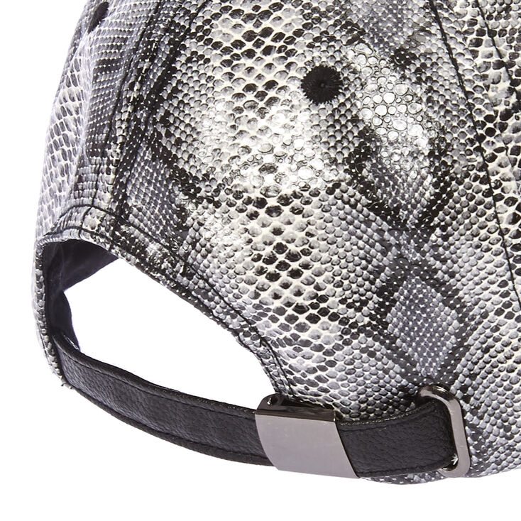 Snake Print Faux Leather Baseball Hat,