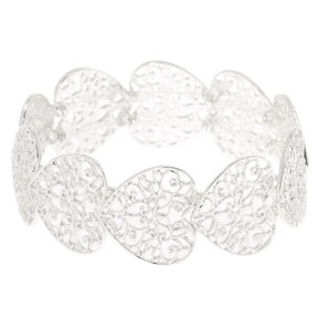 Silver Filigree Heart Stretch Bracelet,