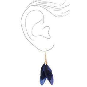 """Gold 3"""" Feather Drop Earrings - Navy,"""