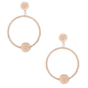"""2.5"""" Metallic Hoop Drop Earrings - Rose Gold,"""