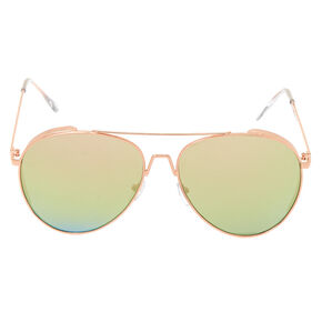 Metal Frame Aviator Sunglasses - Rose Gold,