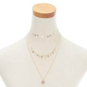 Rose Gold Flower Multi Strand Necklace - Pink,