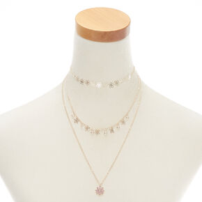 Rose Gold Flower Multi Strand Necklace - Pink,