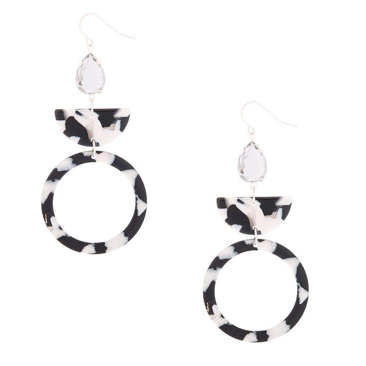 "3"" Black & White Resin Geometric Drop Earrings,"