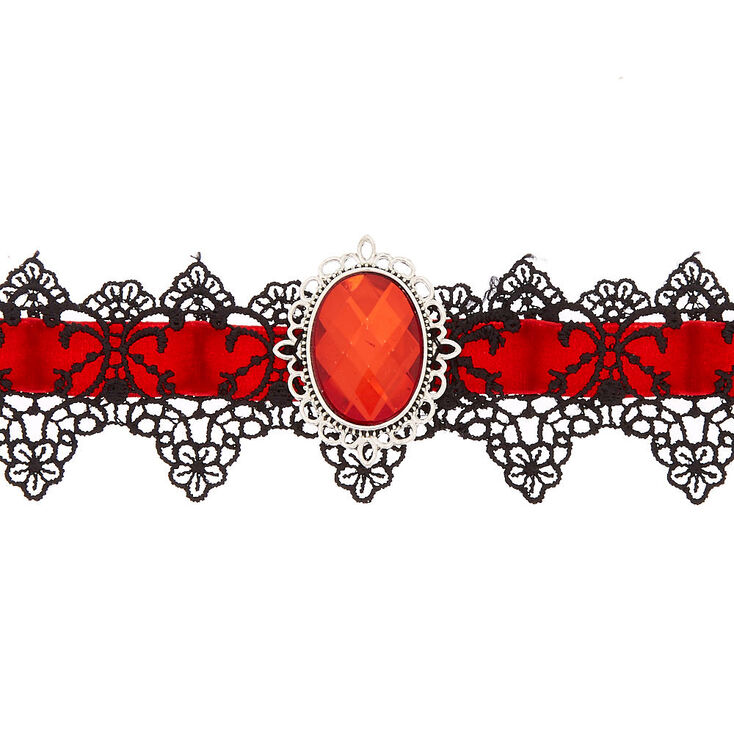 Velvet Lace Choker Necklace - Red,