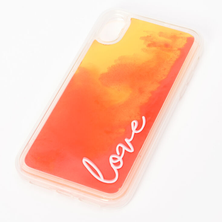 Love Neon Sand Liquid Fill Phone Case - Fits iPhone XR,