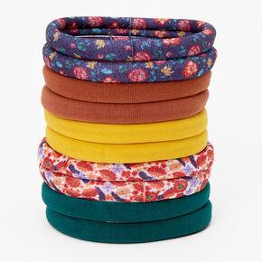 Rustic Solid & Floral Rolled Hair Ties - 10 Pack,