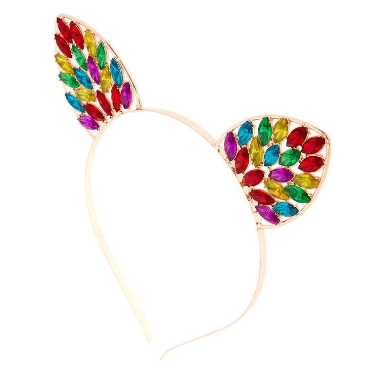 Rose Gold Rainbow Bling Cat Ears Headband,