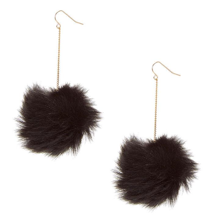 Black Pom Pom Drop Earrings,