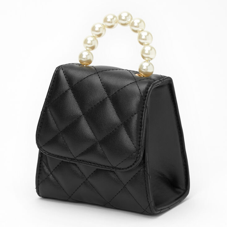 Quilted Crossbody Pearl Handle Bag - Black,