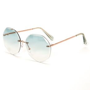 Beveled Octagon Rimless Sunglasses - Blue,