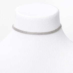 Silver Multi Row Ball Chain Choker Necklace,