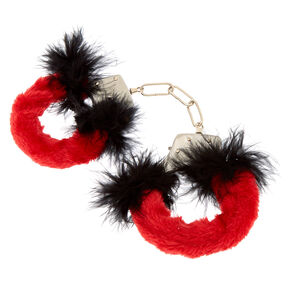Fuzzy Feather Handcuffs - Red,