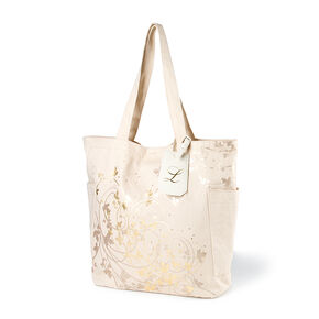 "Bridesmaid Canvas Tote Bag with ""L"" Initial Tag,"