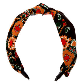 Boho Aztec Knotted Headband - Black,