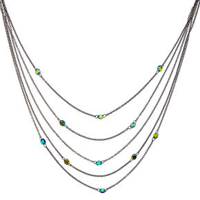 Black Finish Cubic Zirconia Multi-Layered Necklace,