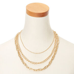 Gold Chain Multi Strand Necklace,
