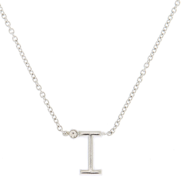 Silver Stone Initial Pendant Necklace - I,