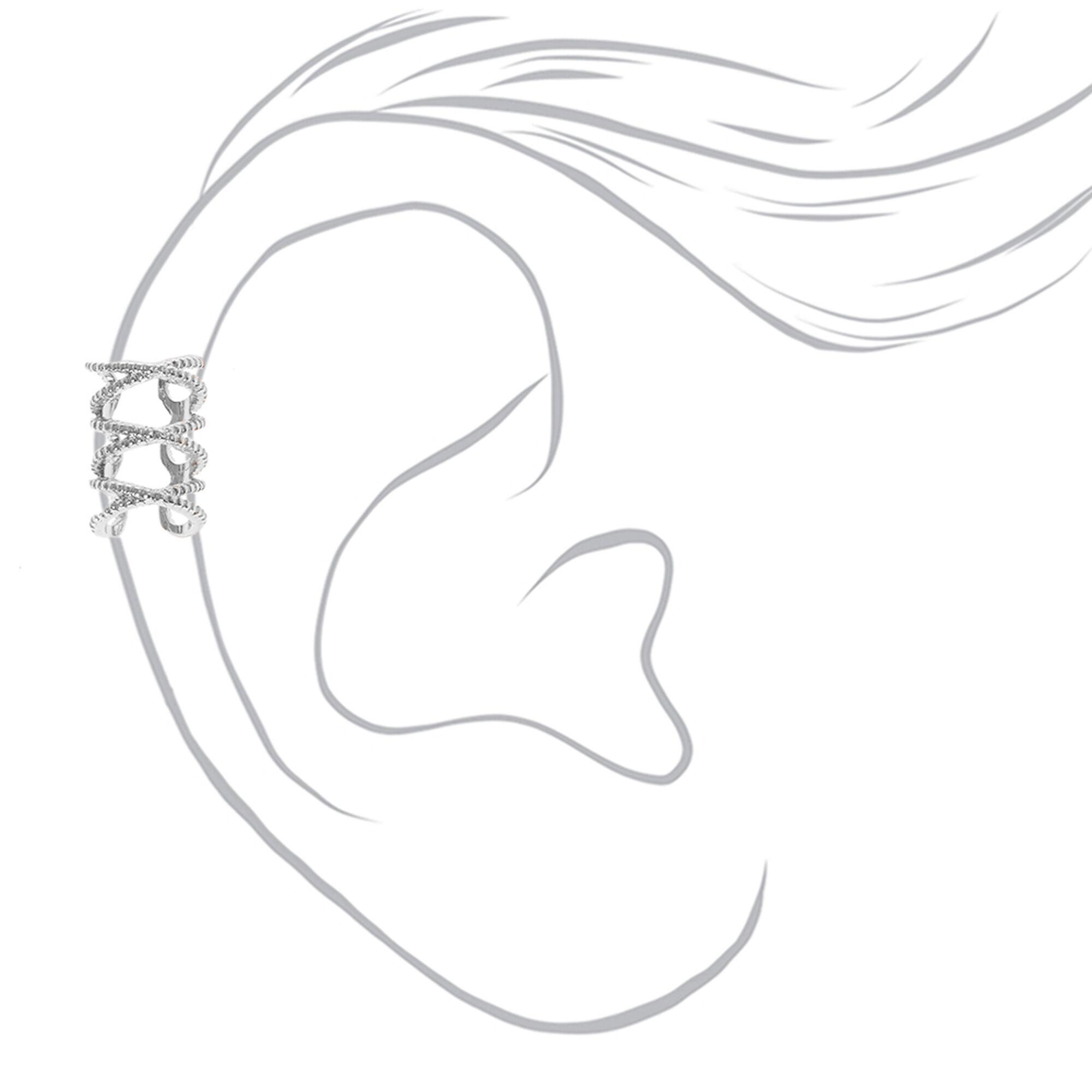 Silver Tone Triple Infinity Symbol Ear Cuff Icing Us