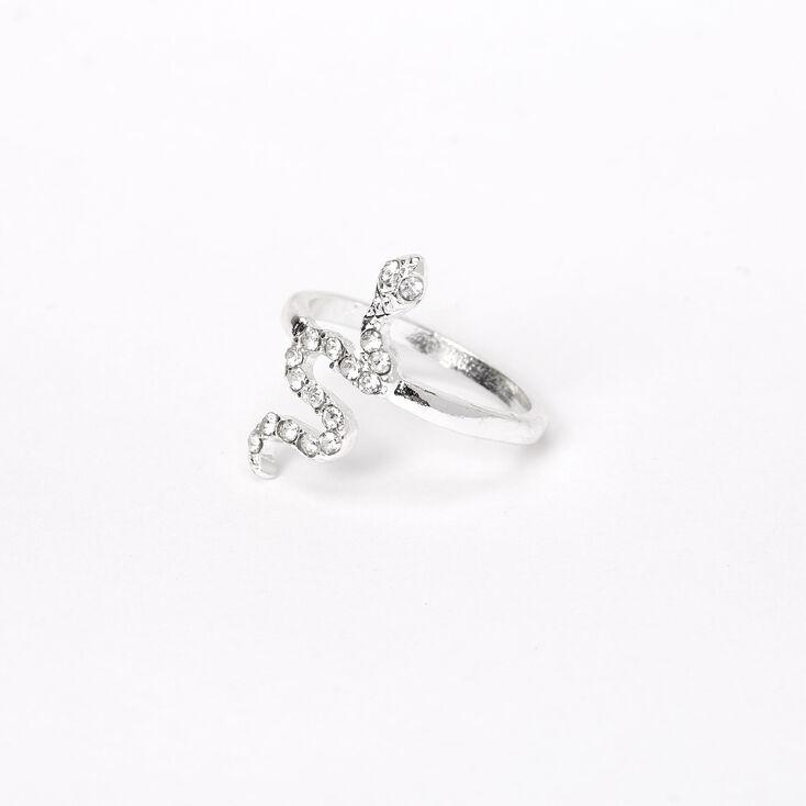 Silver Embellished Snake Midi Ring,