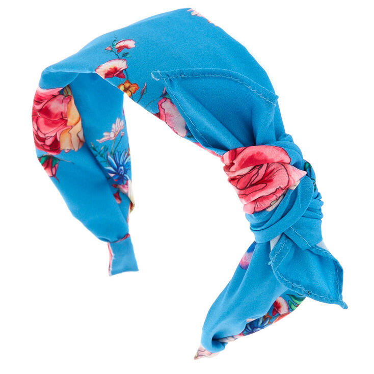 Rose Print Bow Headband - Blue,
