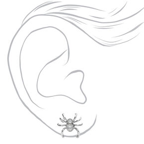 Silver Spider Stone Stud Earrings,