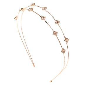Rose Gold Embellished Diamond Double Row Headband,