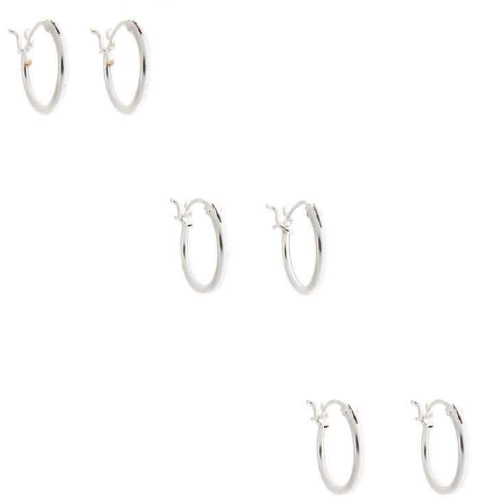 Sterling Silver 10MM Hinge Hoop Earrings - 3 Pack,