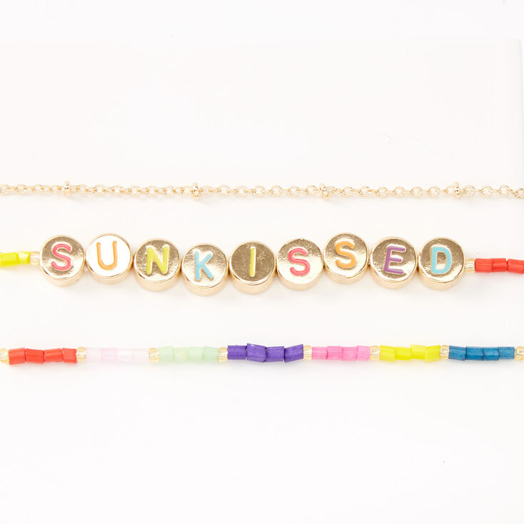 Gold Rainbow Sunkissed Mixed Bracelets - 3 Pack,