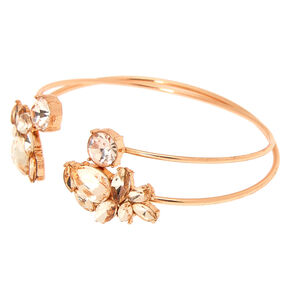 Glass Rhinestone Leaf Cuff Bracelets - Rose Gold, 2 Pack,