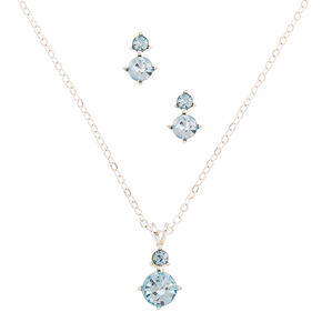Silver Rhinestone Classic Jewelry Set - Blue, 2 Pack,