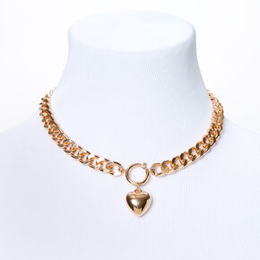 Gold Heart Pendant Chain Necklace,