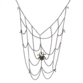 Spider Web Necklace - Silver,