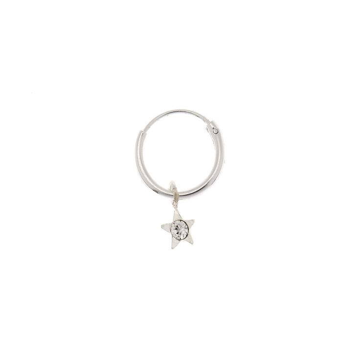 Sterling Silver 22G Crystal Star Cartilage Hoop Earring,